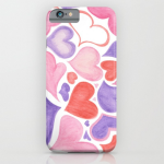 Watercolor hearts phone case