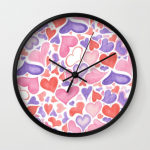 Watercolor hearts wall clock
