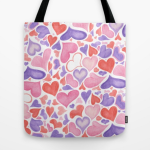 Watercolor hearts tote bag