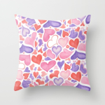 Watercolor hearts throw pillow cover