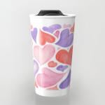 Watercolor hearts travel mug