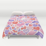 Watercolor hearts duvet cover